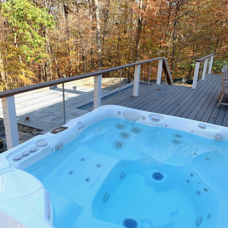Outdoor living space in Fairfield, CT - pool, spa, patio, stone patio, deck